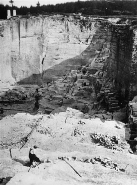 View of the stone quarry in the Gross-Rosen camp, where prisoners were subjected to forced labor. Gross-Rosen, Germany, 1940-1945. [KZ Gedenkstaette Dachau]