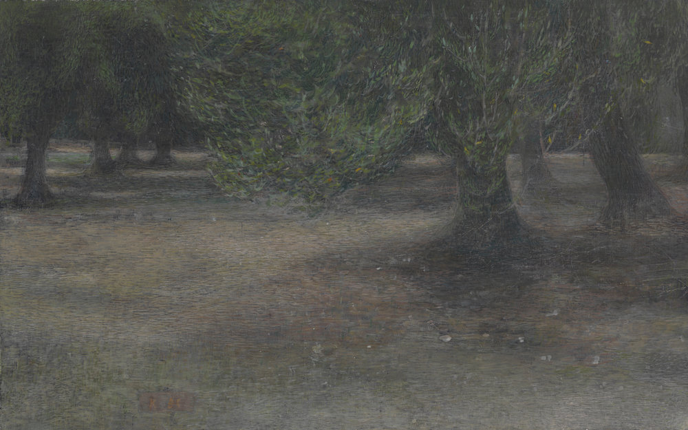 olive grove-dusk   tempera pigments on gesso panel 26x41cm