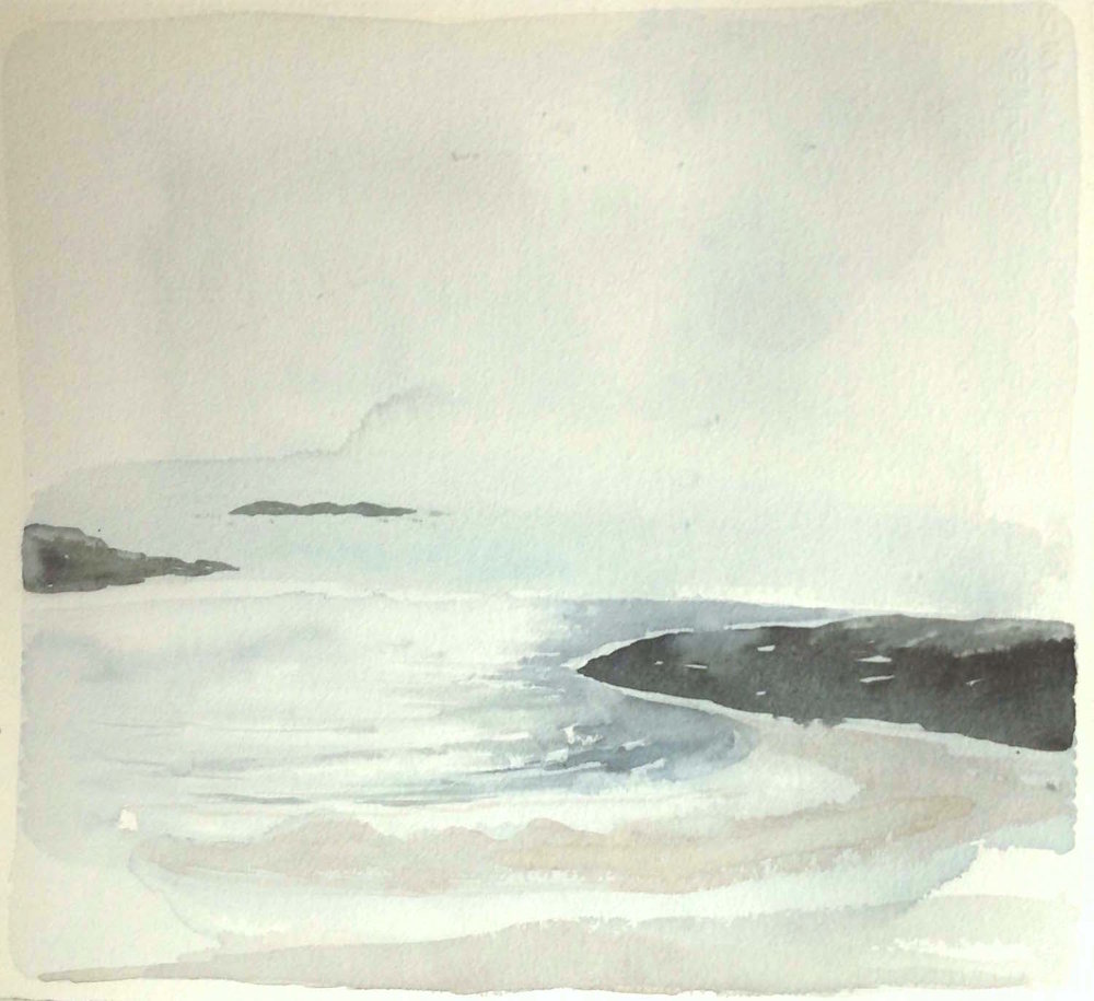 spring light-st columba's bay-iona  watercolour SOLD