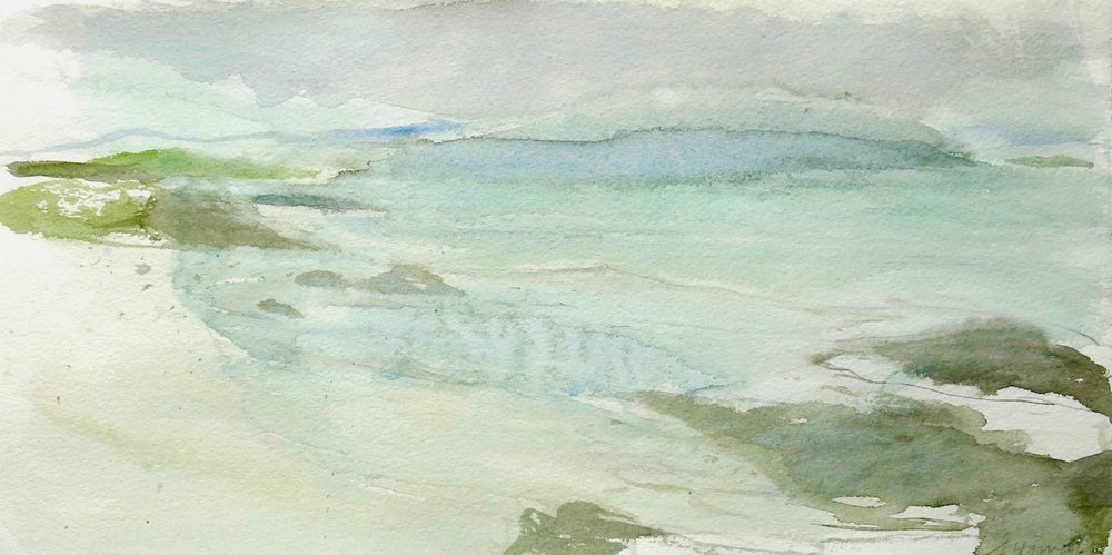springtide-white strand-iona 1  watercolour 21x42cm SOLD