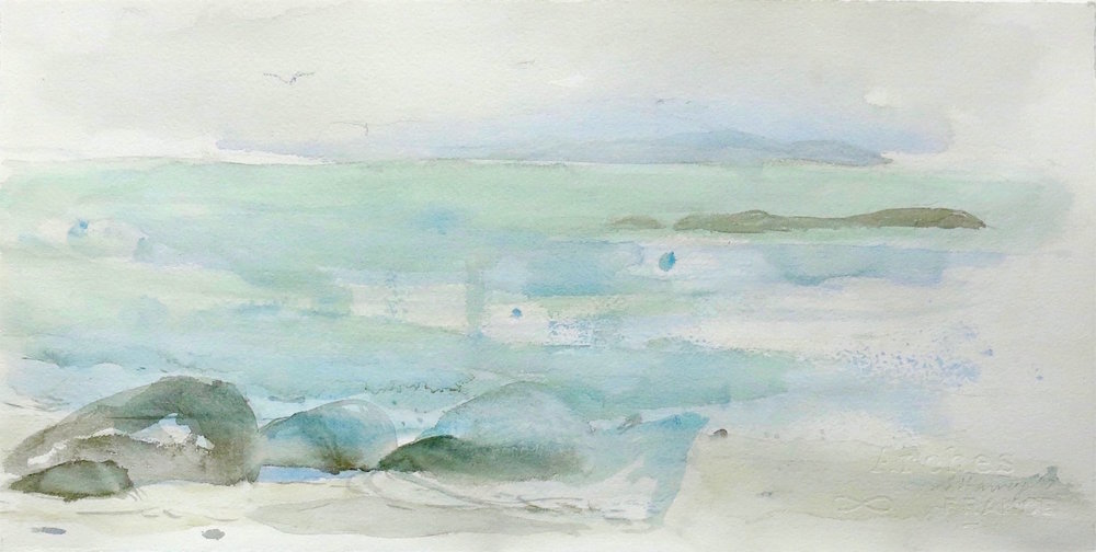 springtide-white strand-iona 2  watercolour 21x42cm