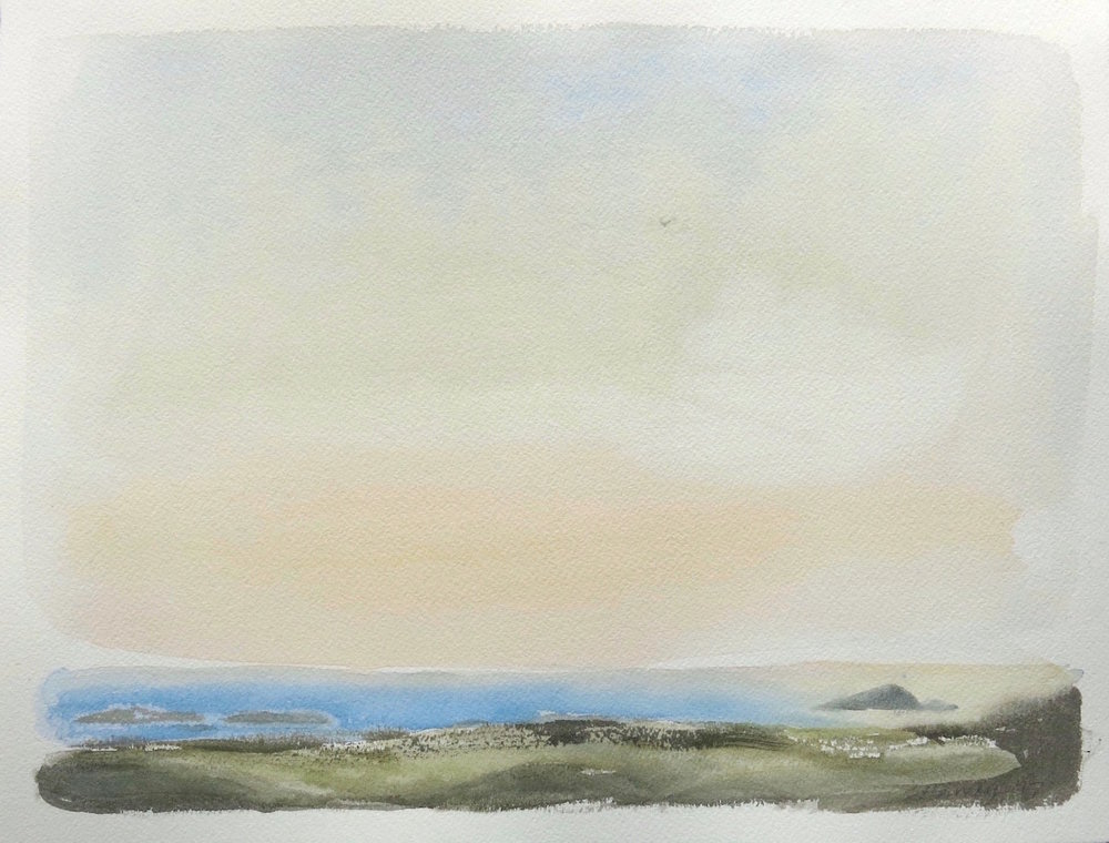 evening light-from the hill of the lambs-iona  watercolour 28x34cm