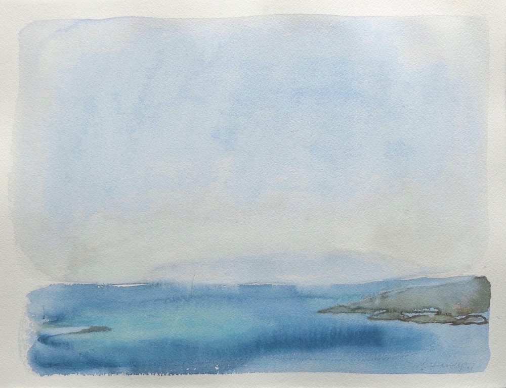 islets of the sound-spring-iona  watercolour 28x37cm