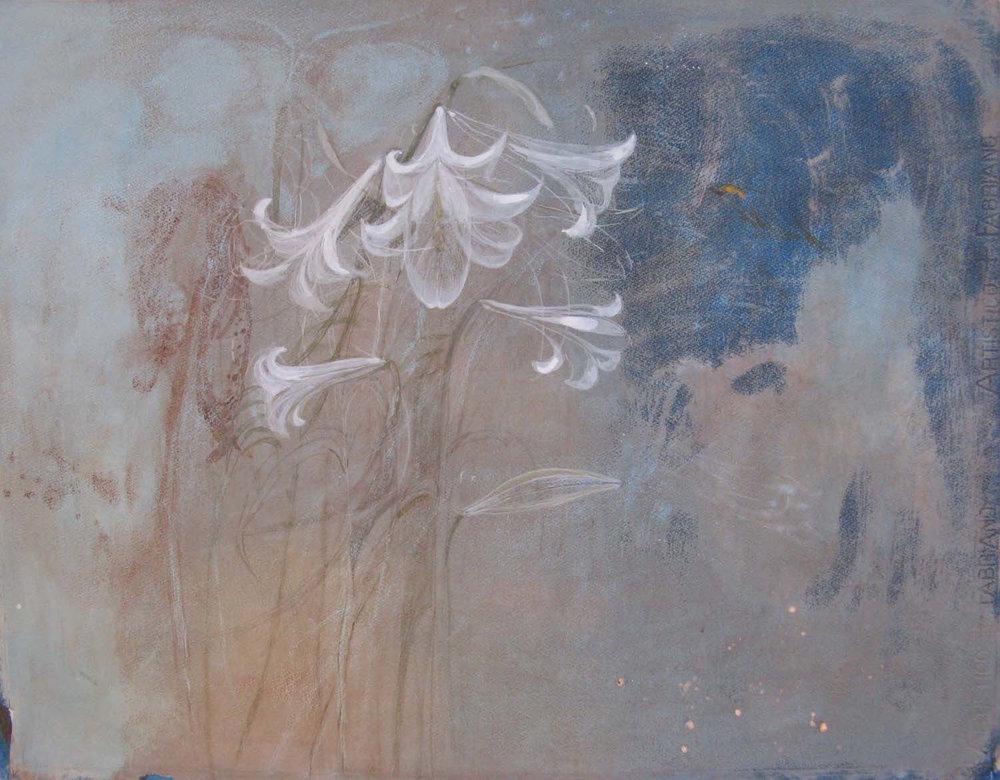 madonna lily tempera-gesso SOLD