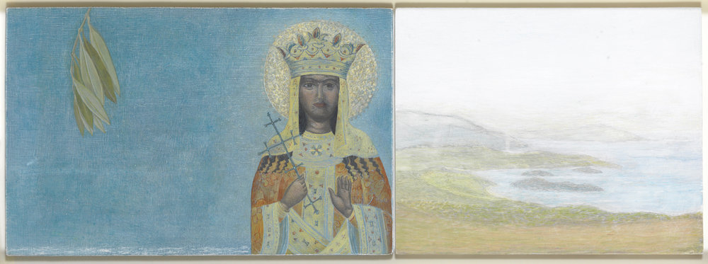 st catherine- pelion   diptych  tempera pigments on gesso panel   26x73cm