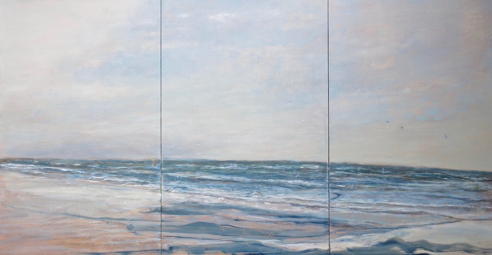 december sea triptych  48x91 cm   oil on gesso panel