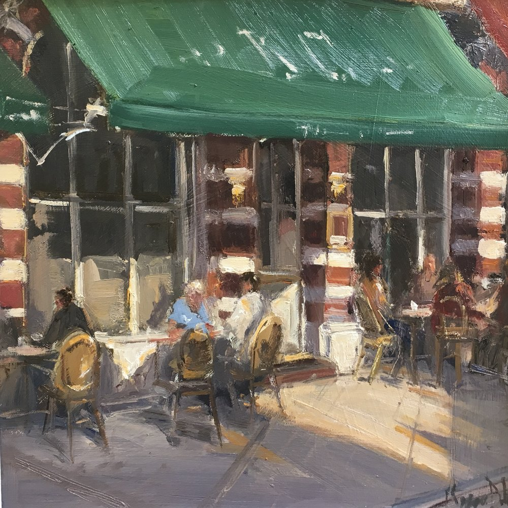 Evening Diners  12x12  Oil on board