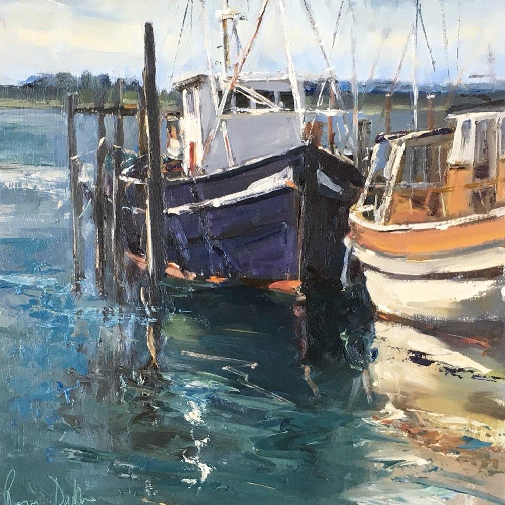 Boats Maylandsea 12x12 Oil on board