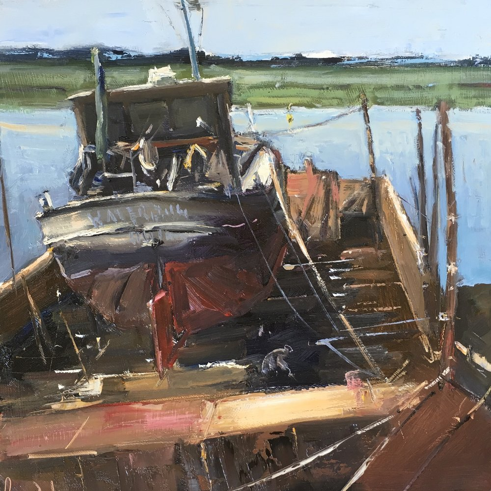 Boat on floating dock Maylandsea 12x12 Oil on board