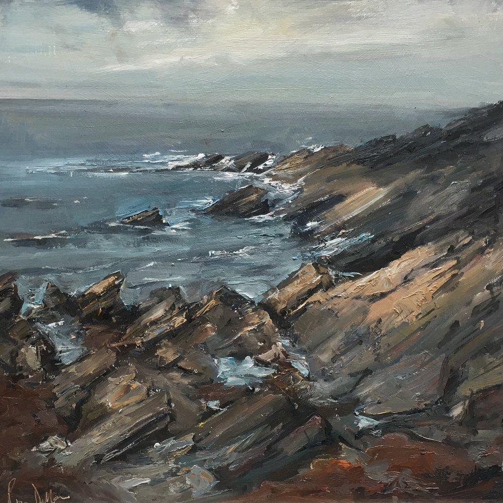 Rocky coastline Hook Point Ireland 16x16 Oil on board