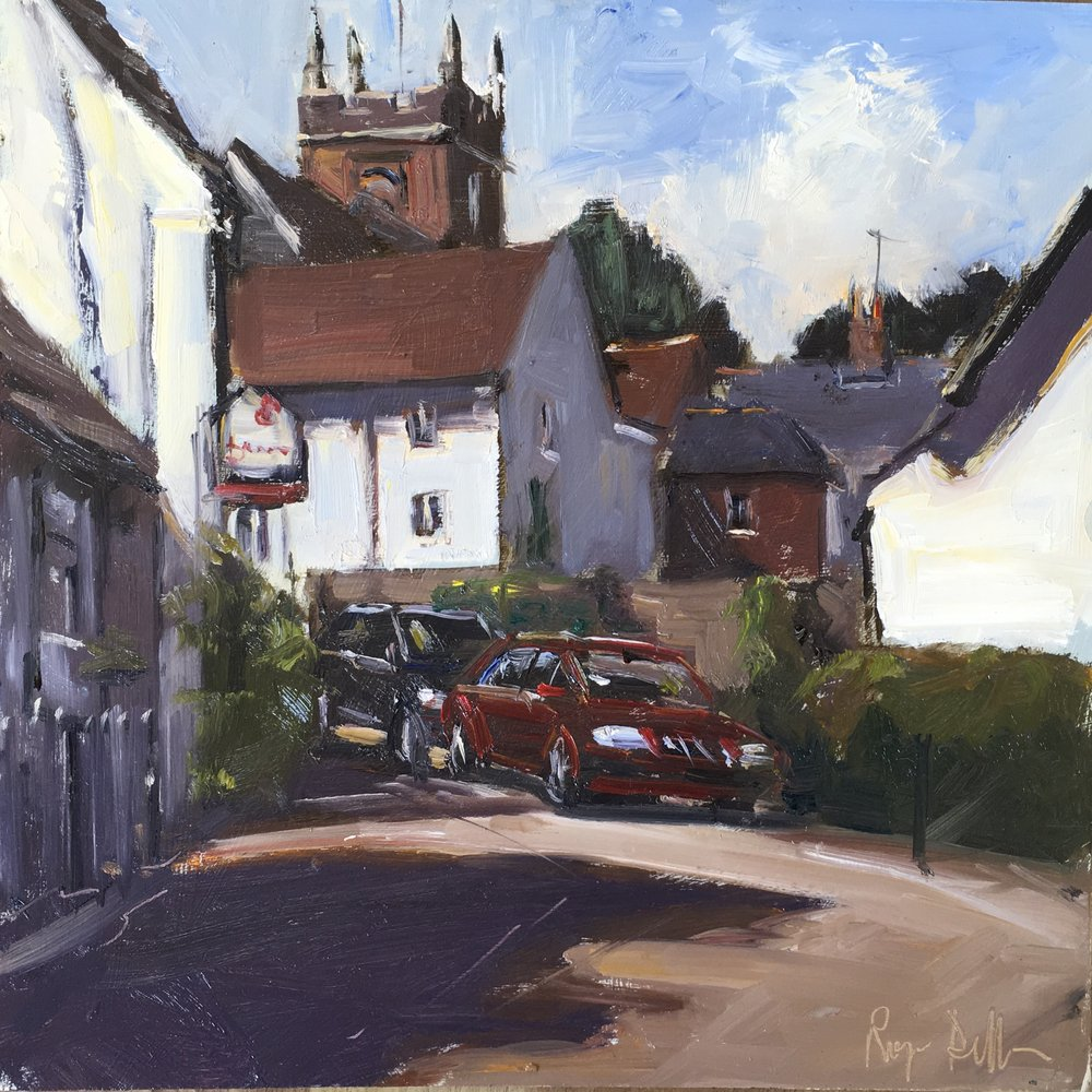 Odiham street 12x12 Oil on board