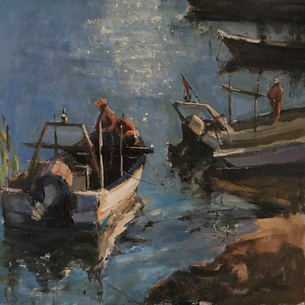 Fishing boats Portugal Oil on board 12x12
