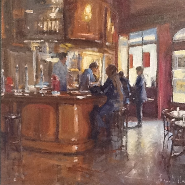 Irish Bar 20x20 Oil on board