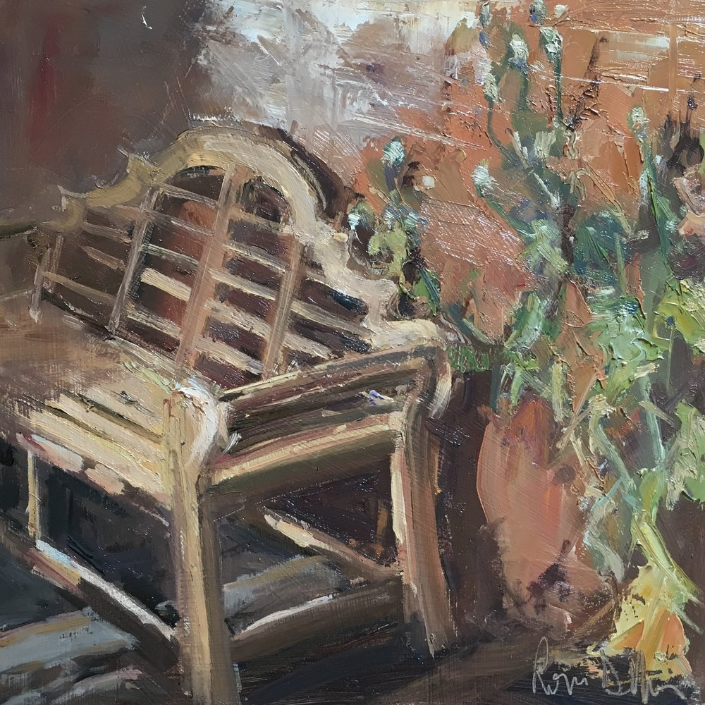 Garden seat Oil on board 12x12