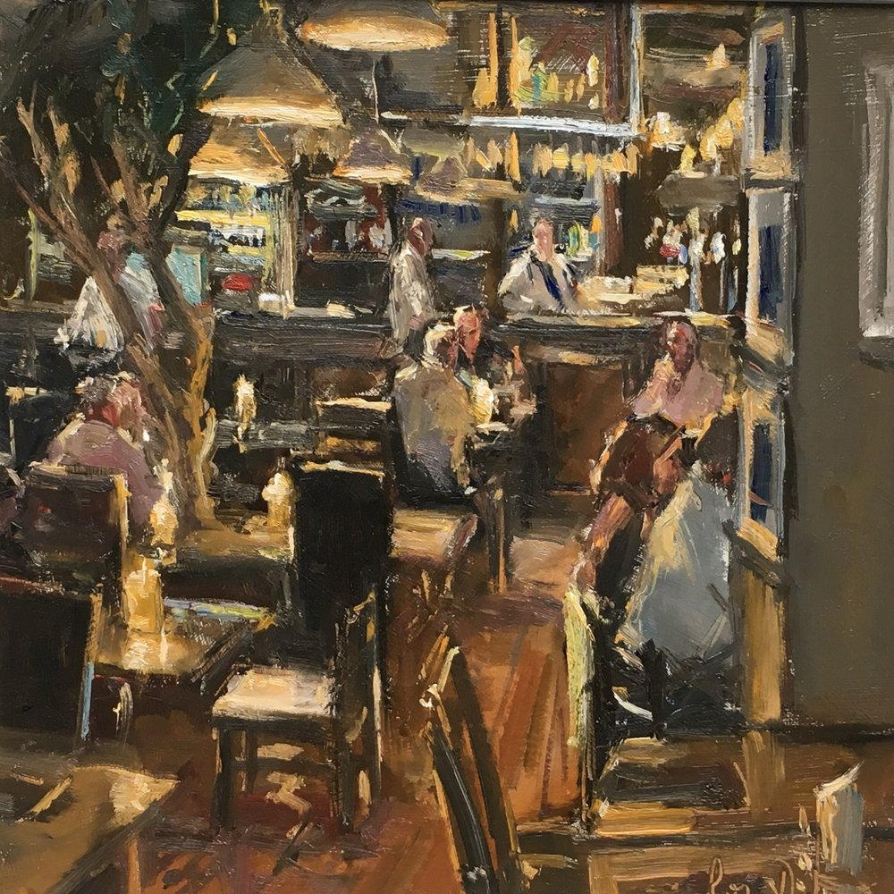 Early bird diners 12x12 Oil on board