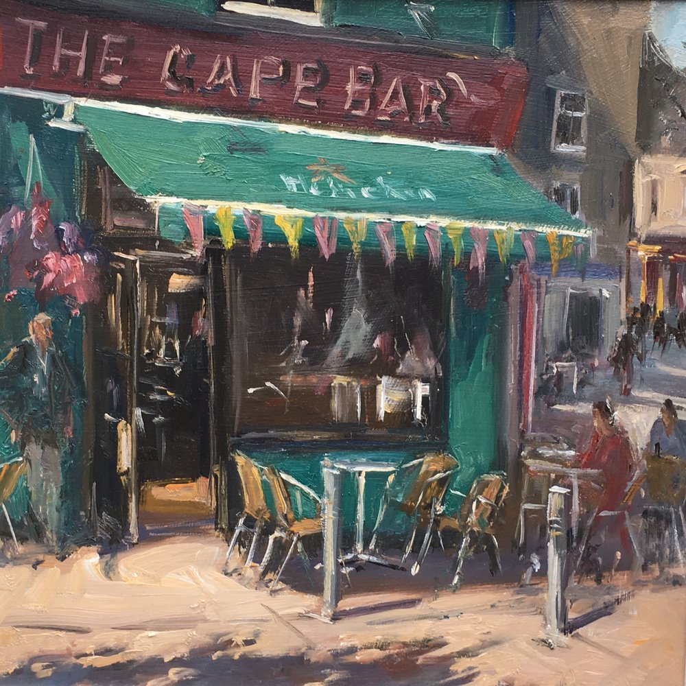 Irish Pub and undertakers 12x12 Oil on board