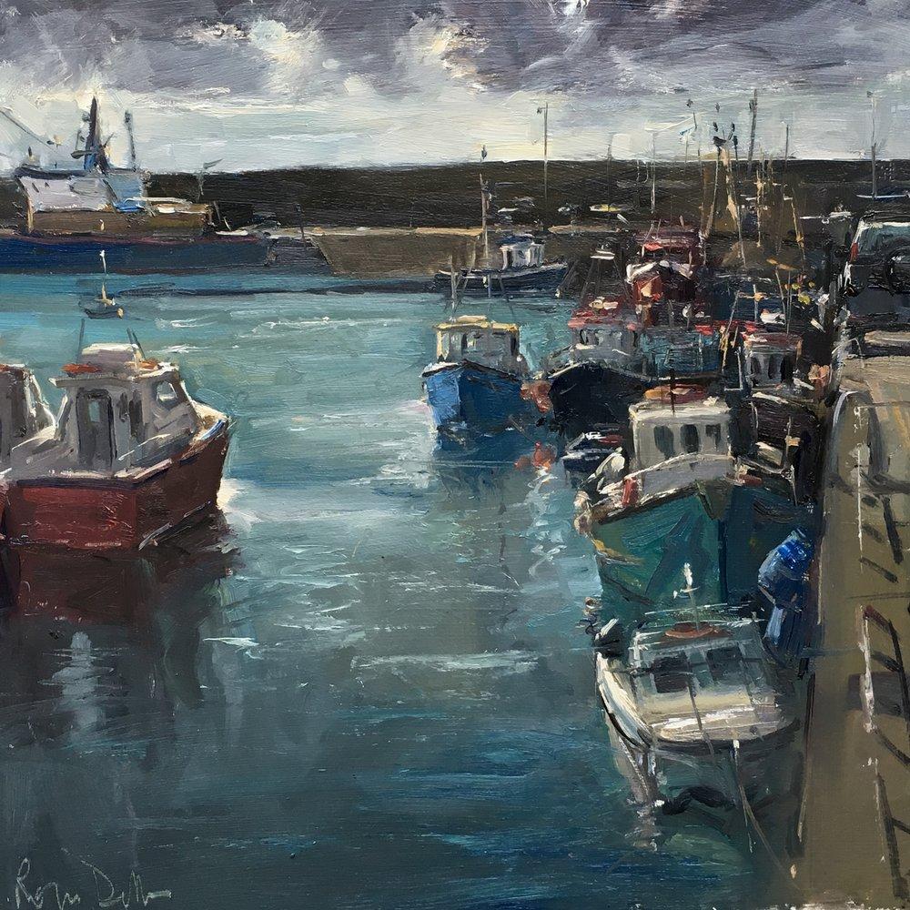 Irish harbour 16x16 Oil on board