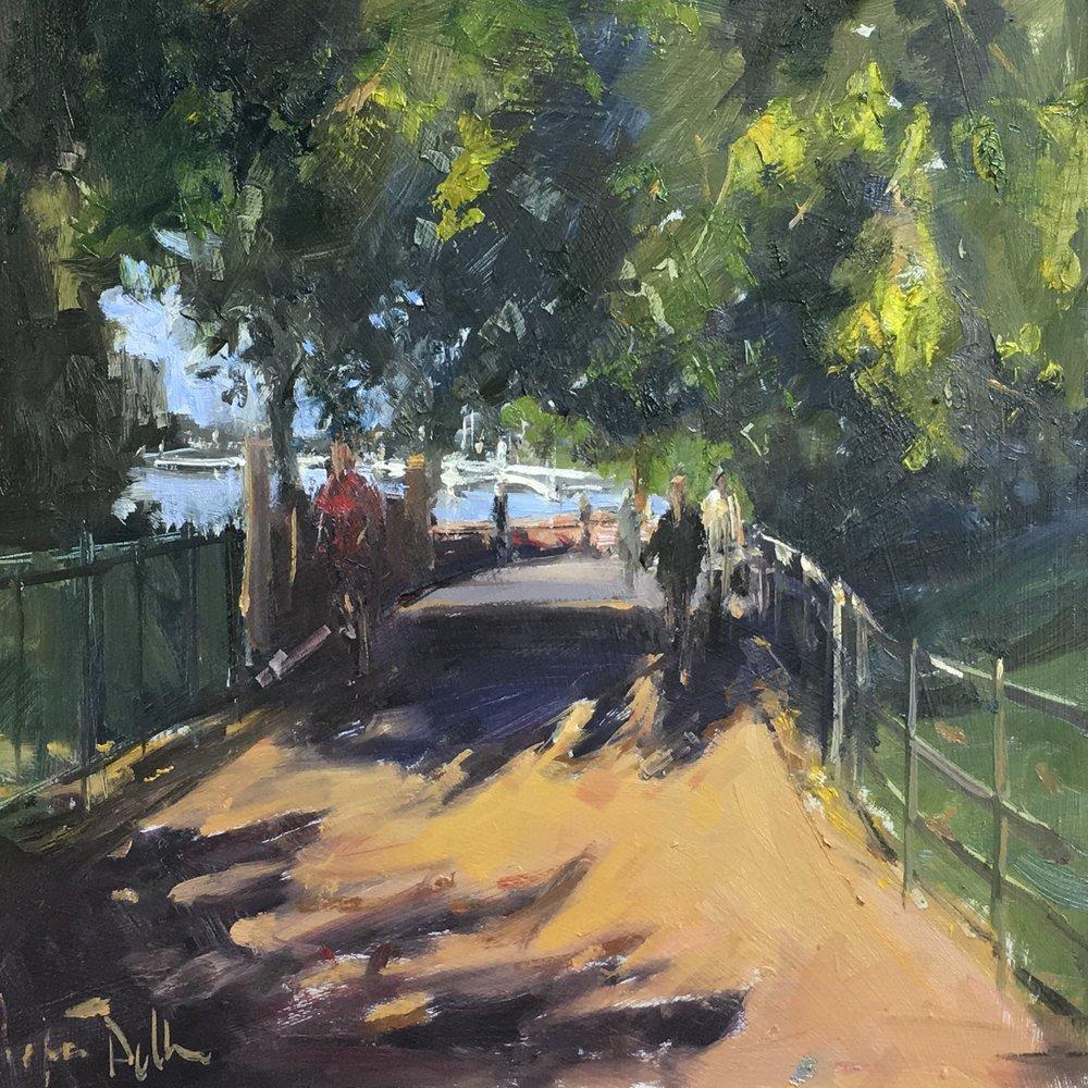 Late afternoon by Albert Bridge  12x12 Oil on board