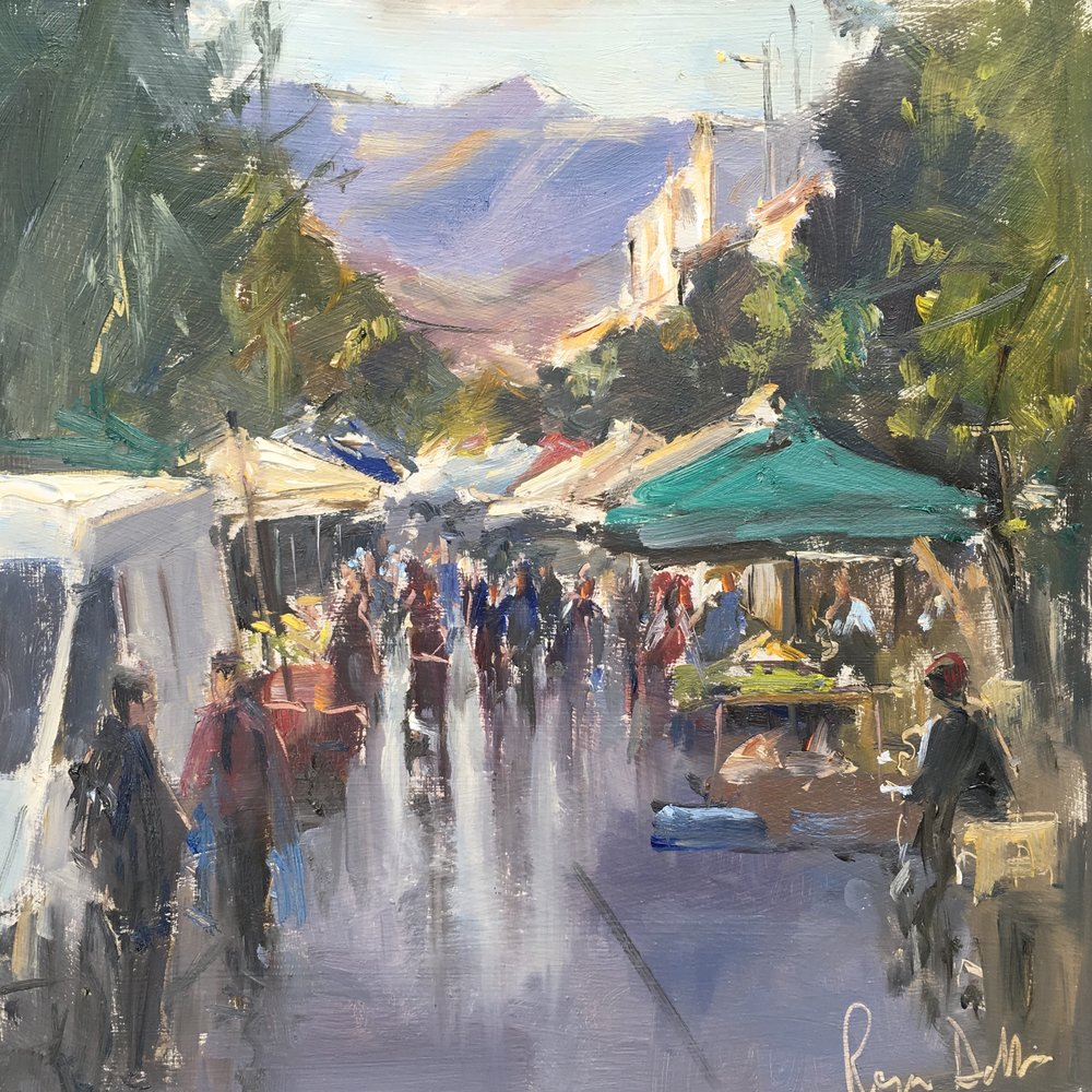 Market day Crete  10x10 Oil on board
