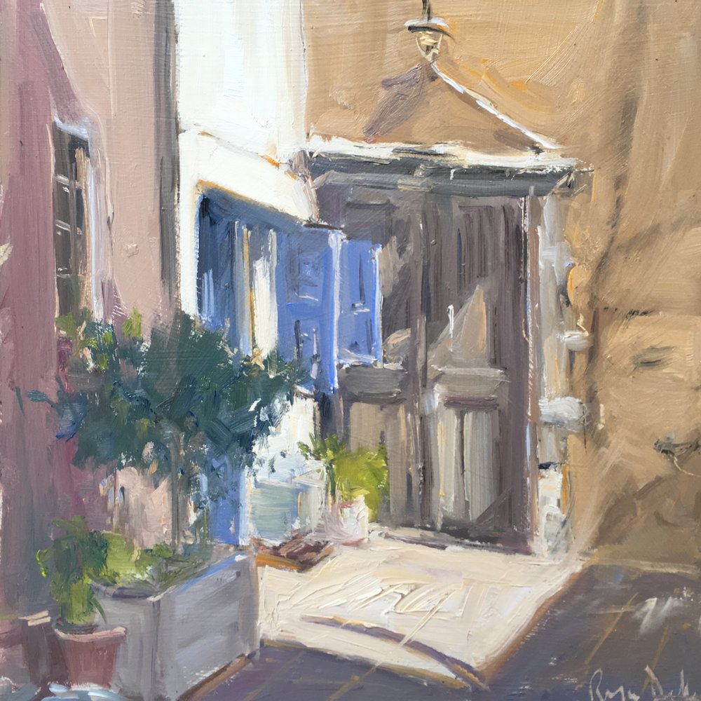 Cretan doorway 10x10 Oil on board