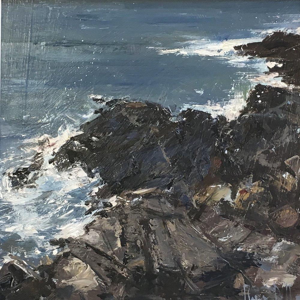Cornish coast  12x12 Oil on board