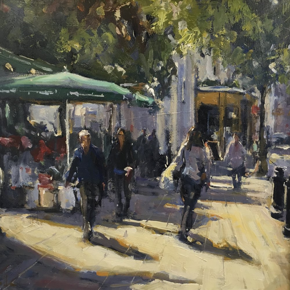 Flower stall Kings  Road Chelsea 16x16 Oil on board