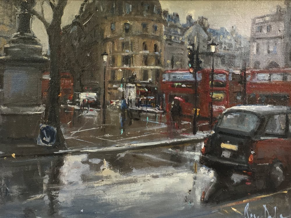 Wet day Trafalgar Sq  16x12 Oil on board