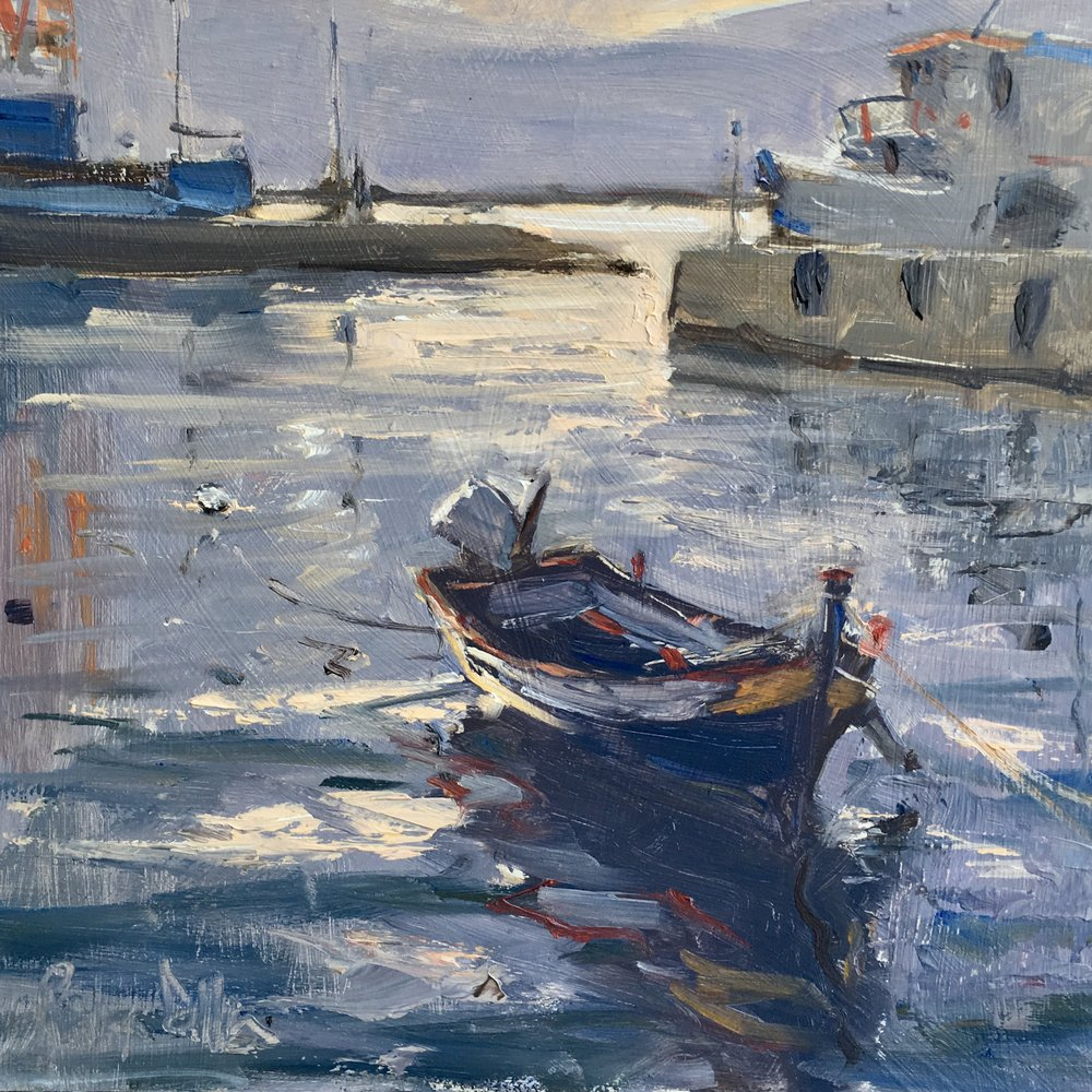 Morning in the Harbour  10x10 Oil on board