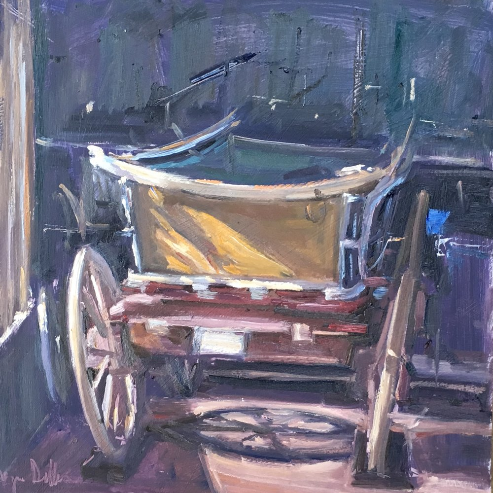 Old Cart Brookwood Motor Museum  12x12 oil on board