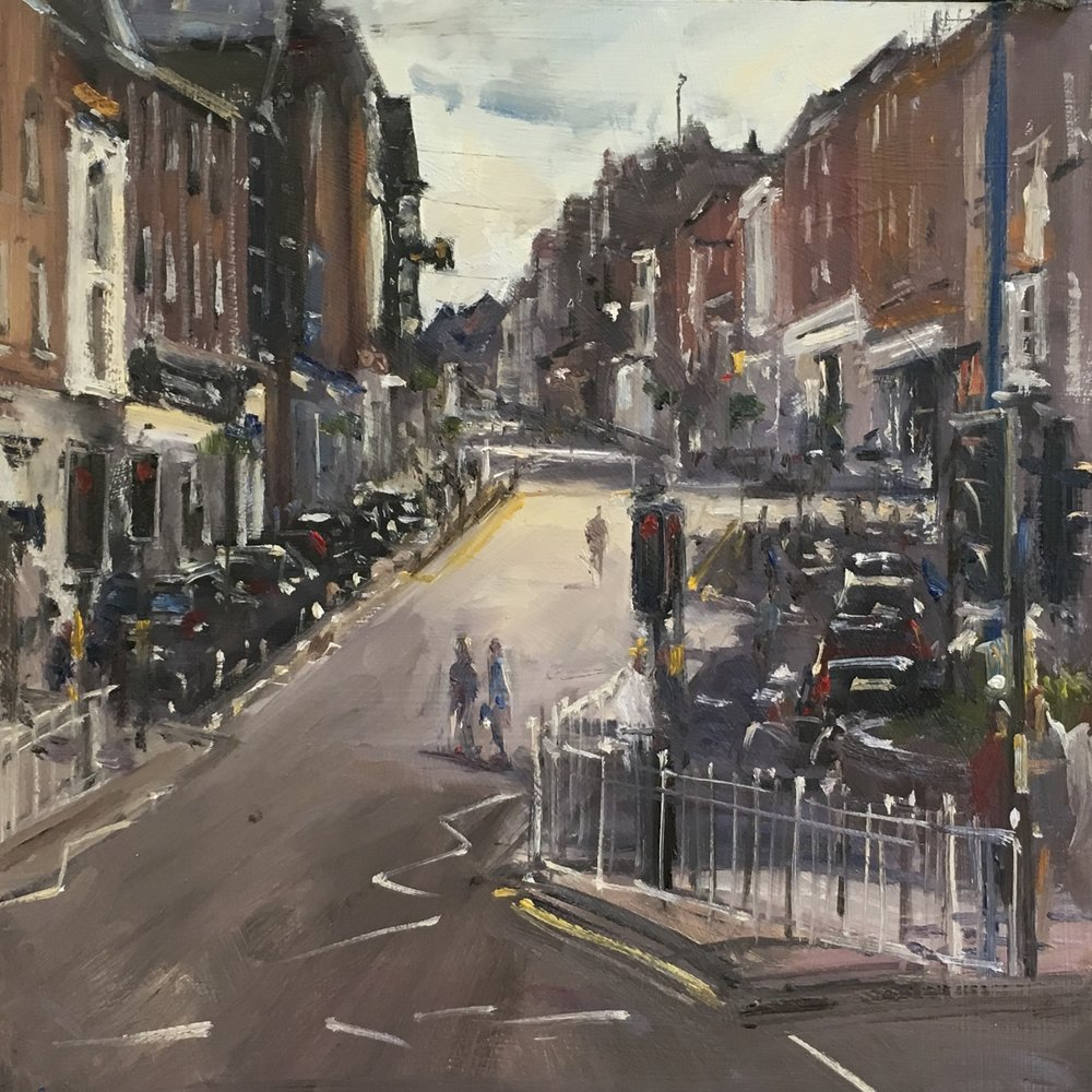 Guildford High Street 12x12 Oil on board