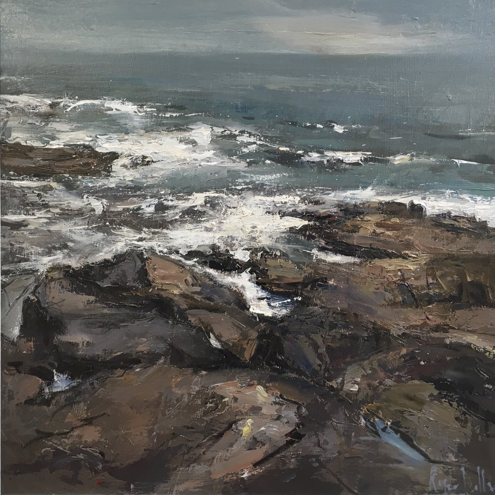 Where 5 tides reach 16x16  Oil on board
