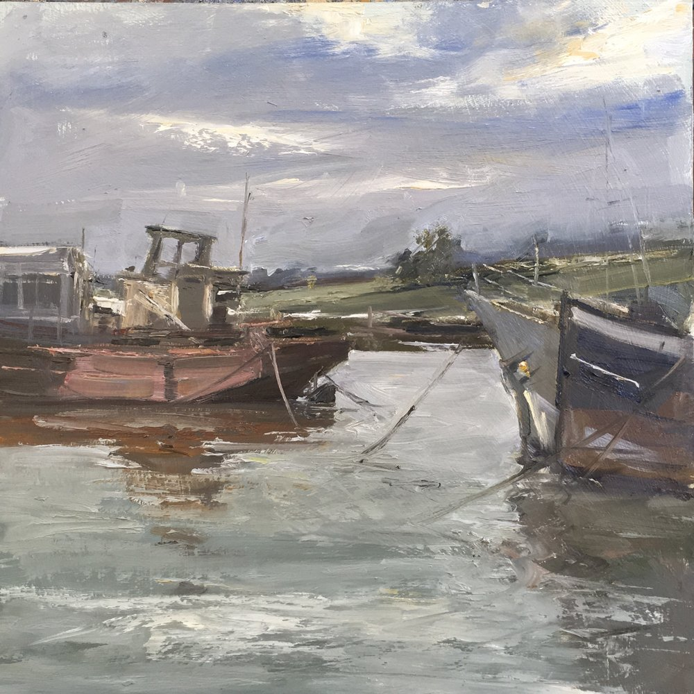 Tides in St Osyths 12x12 Oil on board