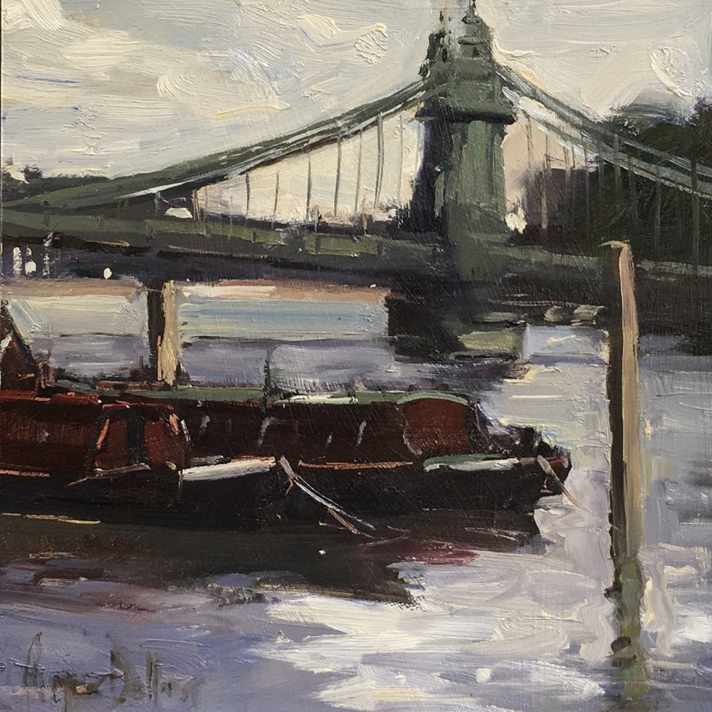 Hammersmith Bridge 10x10 Oil on board