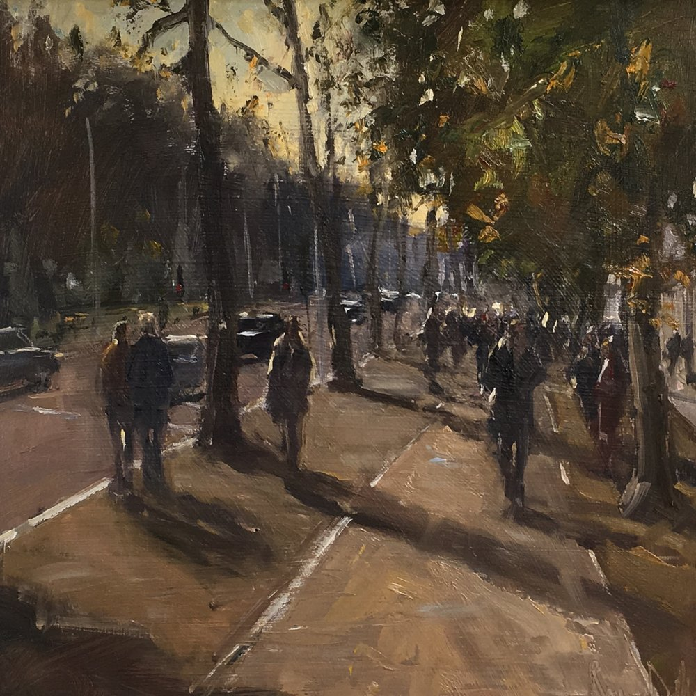Late afternoon By the Mall galleries 12x12 Oil on board