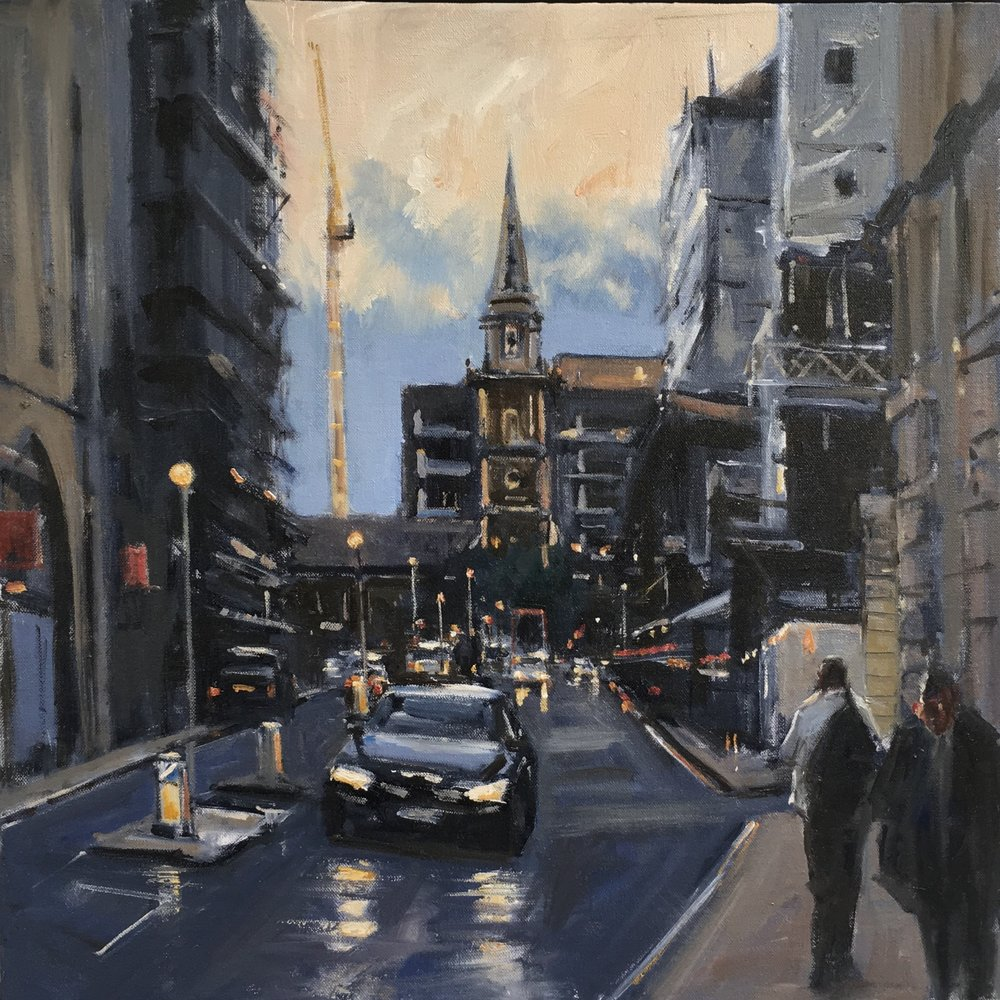 Fenchurch St   30x30   Oil on board