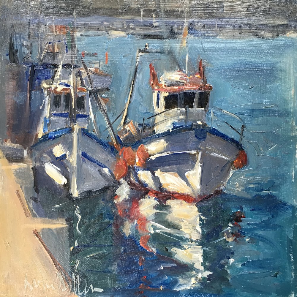 Fishing boats 8x8 Oil on board