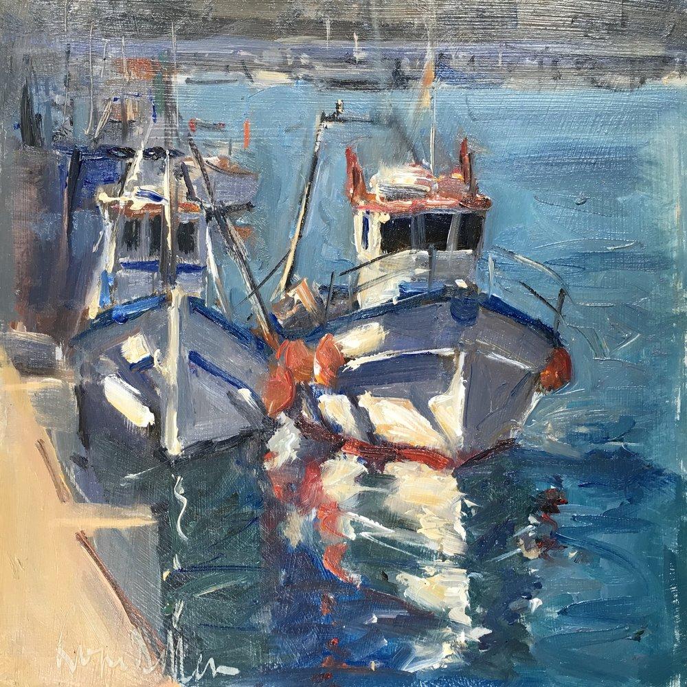 Fishing boats 8x8 Oil on board