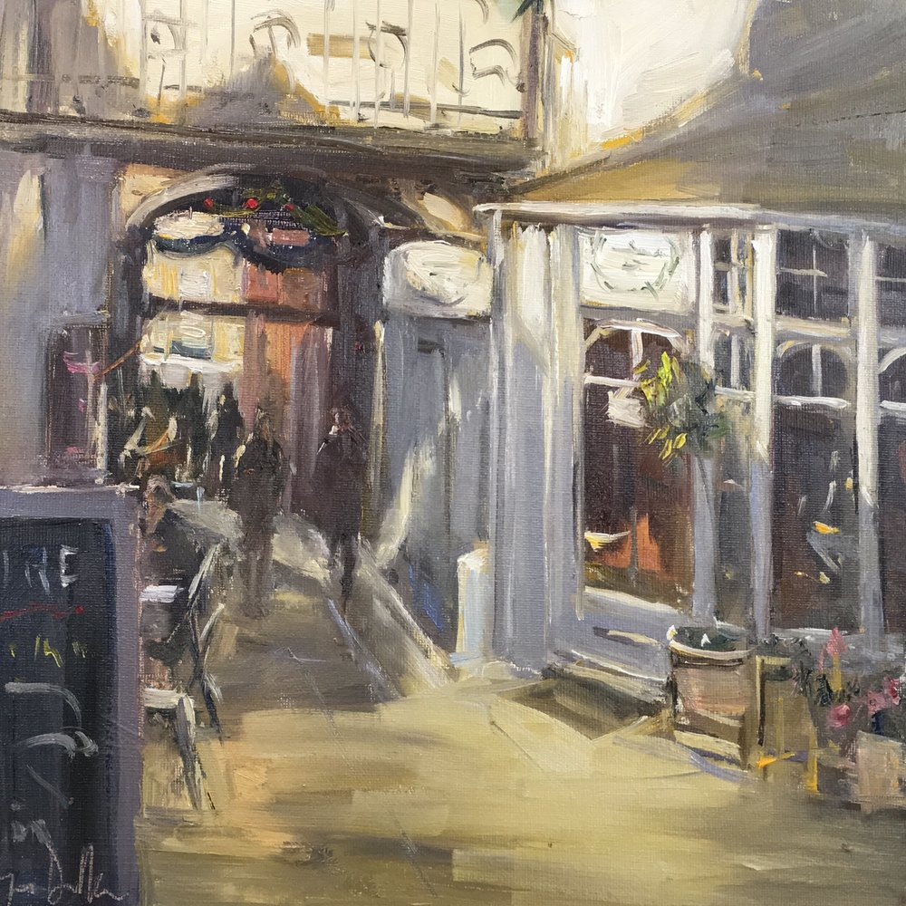 Sun and shadows Angel yard Guildford  12x12 Oil on board
