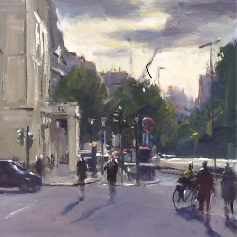 By Hyde Park Corner  12x12 oil on board