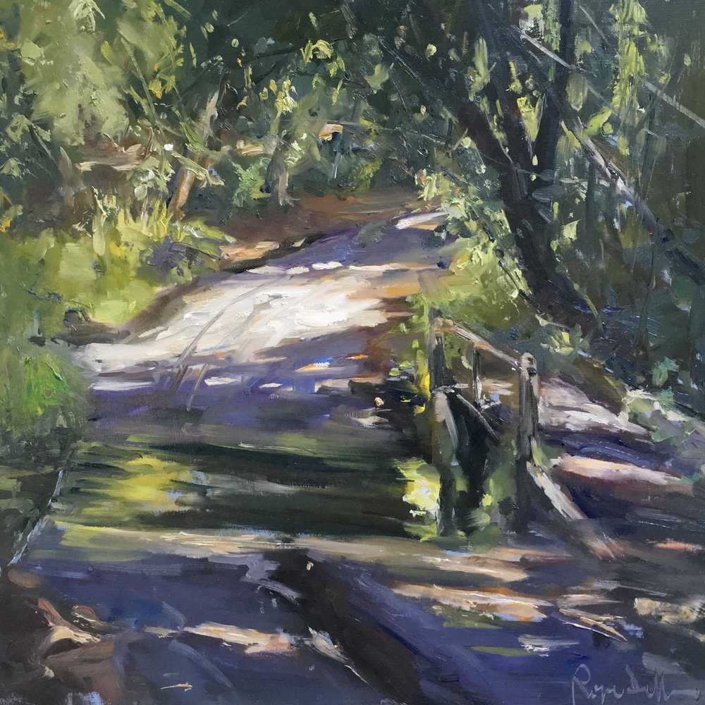 Suna and shadows by the ford 16x16inches