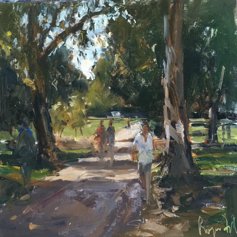 Jogging in St James` Park 12x12 OIl