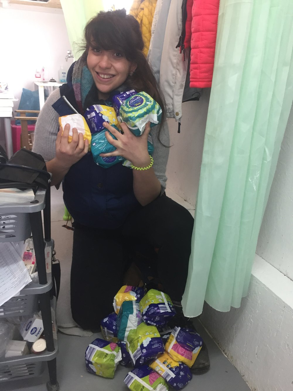 Sarah and her pads.JPG