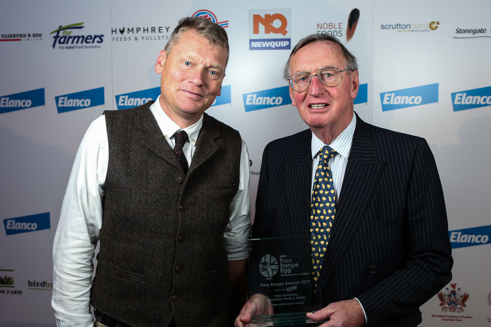 Television presenter Tom Heap presents the Lifetime Achievement award to Peter Humphrey of Humphrey Feeds at the 2017 BFREPA Conference at the National Conference Centre in Bickenhill, Solihull.
