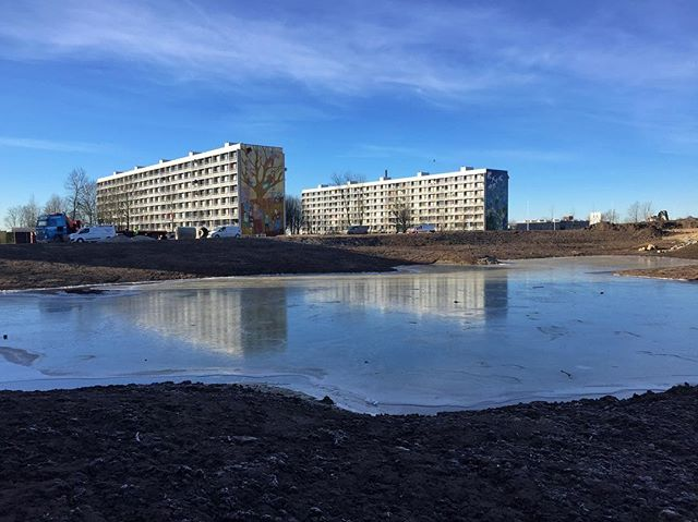 Crisp morning in Gellerup / Frisk morgen i Gellerup #morning #gellerup #aarhus #modernism #danisharchitecture #brutalism  #water