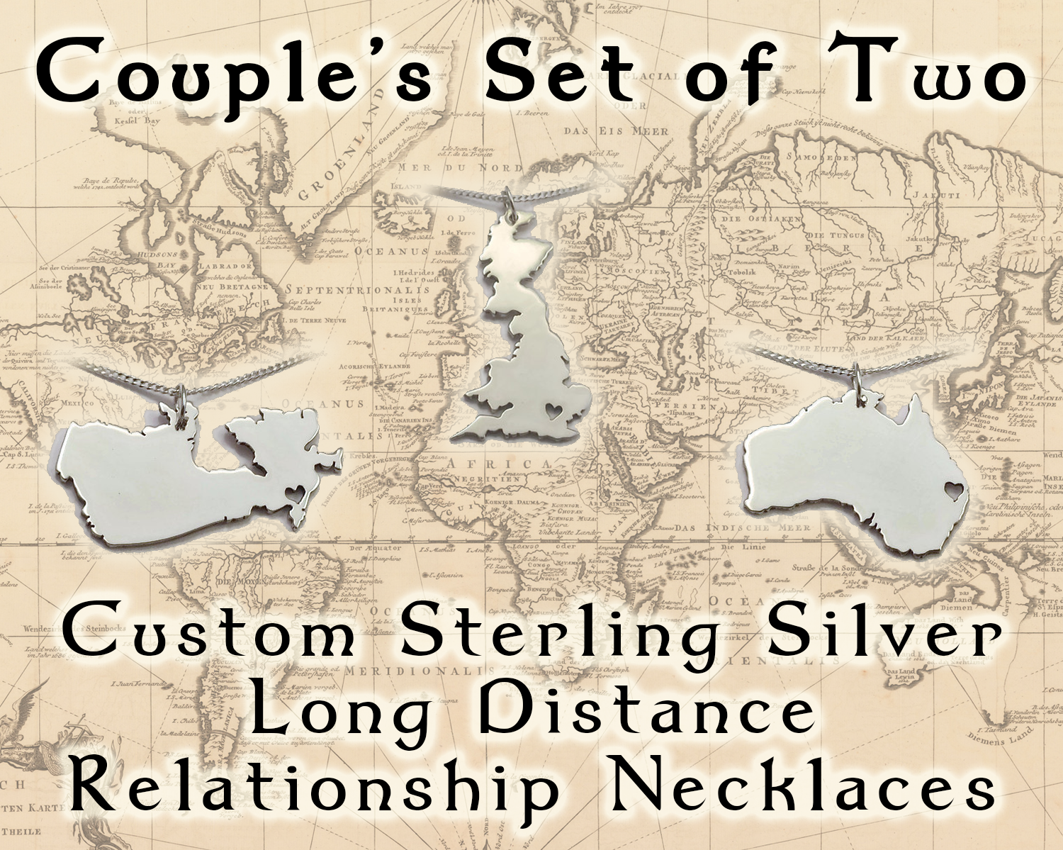 Couples Sterling Silver Long Distance Relationship Necklace Set ...