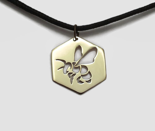 Honey bee pendant necklace the leaky crucible foundry honey bee pendant necklace aloadofball Choice Image