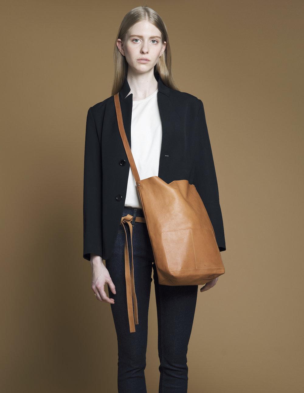 Leather Shoulder Sling & Skinny Bow Belt