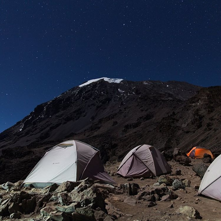 11:27 PM | Barafu Base Camp | 15,357 ft The scene at base camp approximately 30 min before making the push for the summit. Those glaciers look absolutely spectacular from the top. #bigcatsplayball (at Kilimanjaro National Park, Tanzania)
