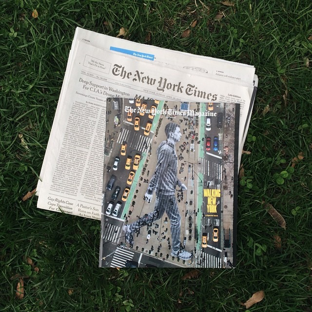 "I had a blast working on this JR piece about immigration that is on the cover of today's New York Times Magazine, Walking New York.     ""We pasted Elmar, 20 years old who came from Azerbaijan, on the floor of Flatiron Plaza in New York City. The image was 150 feet high. People walked on him all day and no one really noticed him. Today he is on the cover of NY Times Magazine while everyone else is in the shadow.""    Artwork by JR for The New York Times    (at New York, New York)"