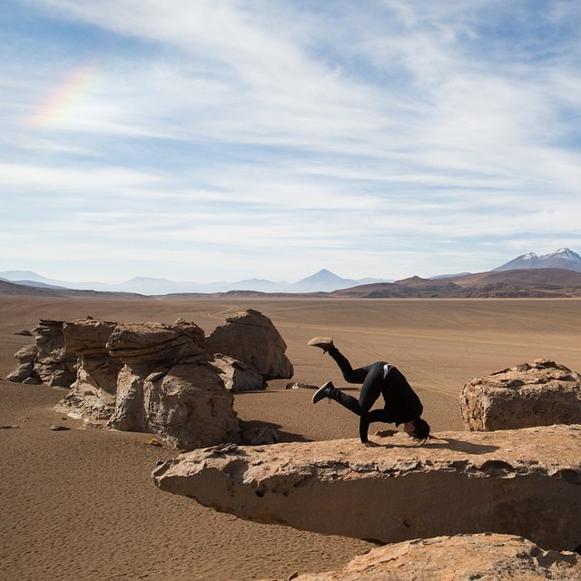\ BBOYING IN BOLIVIA \    Air baby rainbow freeze at the edge of a cliff. This goes out to my bboy and bgirl community back in NYC!    #antarcticaordie #dontwalkdance (at Bolivia)
